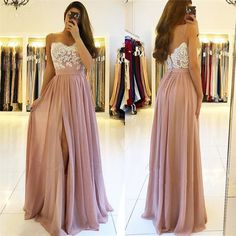 New Arrival Sexy Chiffon Evening Dress Spaghetti Straps Lace Appliques High Split Prom Dresses High Quality Women Party Gowns, 363 Blush Pink Prom Dresses, Split Prom Dresses, Straps Prom Dresses, Bridesmaid Dresses, Wedding Dresses, Sweetheart Prom Dress, Chiffon Evening Dresses, Party Gowns, Dresser