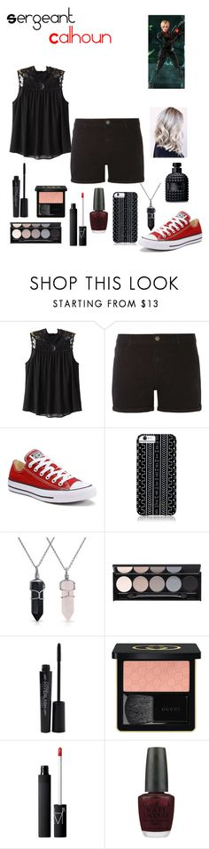 """""""Sergeant Calhoun"""" by dawndreader ❤ liked on Polyvore featuring Chicnova Fashion, Dorothy Perkins, Converse, Savannah Hayes, Bling Jewelry, Witchery, Smashbox, Gucci, NARS Cosmetics and OPI"""