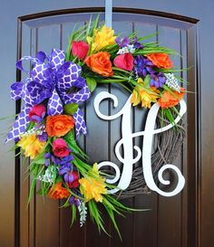 NEW~Mixed flowers~Monogram wreath~Spring wreath~Summer Wreath~Rose wreath~wreath with monogram~door wreath~front door wreaths by DoorandDecor on Etsy https://www.etsy.com/listing/513007065/newmixed-flowersmonogram-wreathspring