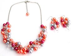 Salmon Lite Gray Magenta Gift Chunky Pearls Necklace Earrings Set Wedding Gift Free Shipping In US