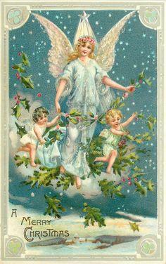 A MERRY CHRISTMAS, 1907 Vintage postcard