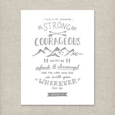 Be Strong and Courageous  Joshua 1:9 Gray  Christian art by KSMDesignShop | Etsy