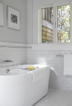 Accent tile placement:   White Subway Tile Bathroom Design Ideas, Pictures, Remodel, and Decor - page 14