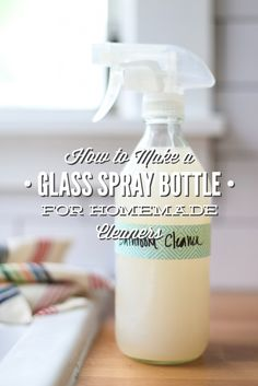Never throw away old vinegar bottles! Rather, turn them into glass cleaning bottles for simple homemade (all-natural) cleaners. An easy tutorial that costs just pennies; plus tons of homemade cleaner recipes. How to Make A Glass Spray Bottle for Homemade Cleaners!