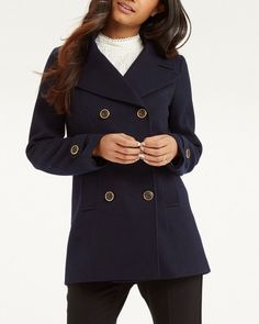 7374ee28bb1f Oasis Navy Twill Short Pea Jacket Double Breasted Coat S 10 38 New.  Celebrity Fashion Store