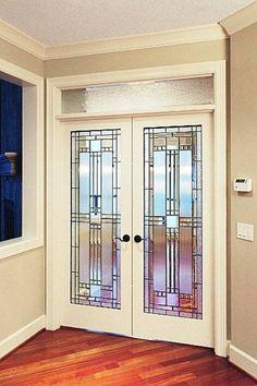 66 Ideas Stained Glass Bathroom Door Art Deco For 2019 Glass French Doors, Glass Decor, Leaded Glass Door, Door Design Interior, Glass Design, Bedroom Doors, Interior Barn Doors, Glass Doors Interior, French Doors Interior
