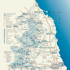 Map of Northumberland National Park. Beautiful coast and miles of unspoilt countryside, friendly people as well! Northumberland Map, Northumberland National Park, North East Map, Landscape And Urbanism, National Parks Map, Walking Routes, Northern England, Places Of Interest, English Countryside
