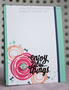 For more details please see my blog: http://didyoustamptoday.blogspot.com/2016/05/enjoy-swirls-stampin-up-swirly-bird.html  Thanks for looking!  Did you stamp today?