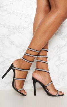 41b5488f163d Black Ankle Diamante Heeled Sandal