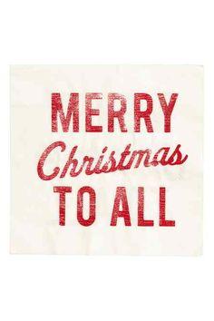 Serviettes en papier - Blanc/Merry Christmas - Home All H&m Christmas, Christmas Table Linen, Christmas Paper Napkins, Merry Christmas To All, Xmas, Paper Serviettes, Holiday Photos, Home Interior, Table Linens