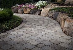 Belgard Bergerac - View Pictures, Sizes, Colors and Get Installation Price Per Sq. For Your Belgard Pavers Project. Concrete Pathway, Flagstone Pathway, Rock Pathway, Backyard Pavers, Pathway Ideas, Belgard Pavers, Backyard Retreat, Pathways, Outdoor Gardens