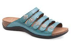 We want to slip our feet into these! Dansko 'Janie' in Turquoise Crackle.