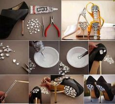 Decorate shoe jewels | tutorial in picture