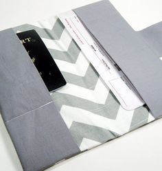 Travel Passport Wallet in Gray Chevron Zig Zag by GracieDesigns, $19.00