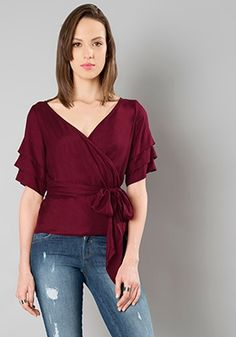 acf9ac99a49 Buy women Wrap Tie Top - Maroon online in India. Shop latest collection of  Blouses for women with COD and easy return at FabAlley.