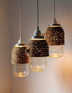 @Emily Schoenfeld Schoenfeld Glende we need to make these! Mason jars, twine and ikea light kits.