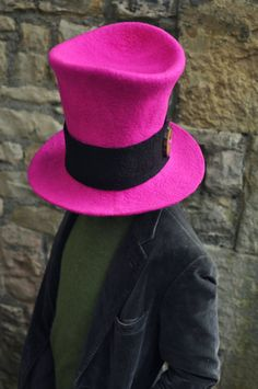 Hand felted wool extra tall top hat 'The Pink Lady' over size cartoon comic costume cosplay outfit shocking hot pink ARtWeAR Made to Measure by Innerspiral