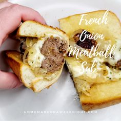 French Onion Meatball Sub Substitute For Bread Crumbs, Crusty Rolls, Tasty Meatballs, Sub Rolls, Meatball Subs, Pork Rinds, French Onion, Caramelized Onions, Stick Of Butter