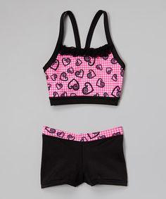 5b620c89d3 Niva-Miche Clothes Pink   Black Hearts Sports Bra   Shorts - Toddler   Girls