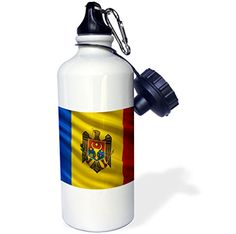 3dRose wb_180004_1 Flag of Moldova waving in the wind Sports Water Bottle 21 oz White >>> You can get more details by clicking on the image.