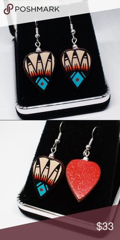 """Native American Pottery Earrings Two cultural artforms depicted in one stunning set of earrings, Chinana creatively transformed Micaceous clay into canvas paint works of art. These collector accessories were handcrafted by Native American Jemez artist Benny Chinana who is known for his intricate artwork and creative pottery jewelry. Certificate of Autenticity Native American handcrafted included.   *Donations made to Cochiti Pueblo Youth.  MEASUREMENTS              1.8"""" x 0.75"""" Jewelry…"""
