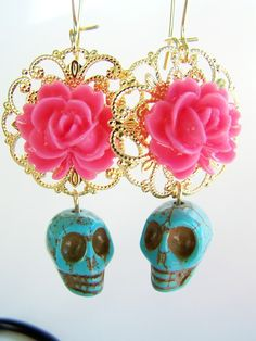 Day of The Dead Earrings  Muerta  Turquoise Skull by polishedtwo, $12.50