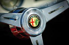 1958 Alfa Romeo Giulietta Spider Steering Wheel - Car photographs by Jill Reger