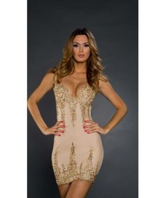Roxanni Arianna Dress in Nude with Gold By Holt Find More : http://www.imaddictedtoyou.com/