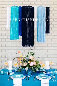Shake things up with some chandeliers made of yarn.