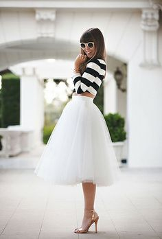 Flouffy skirt and black and white stripes.  Surprisingly classic.