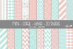 Explore more than vector patterns featuring simple lines, geometric shapes, brush strokes, hand-drawn motifs, and watercolor effects. Chevron Patterns, Graphic Patterns, Paper Patterns, Graphic Design, Mint Coral, Watercolor Effects, Simple Lines, Vector Pattern, White Paper