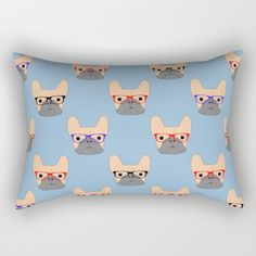 New In Store French Bulldogs Rectangle Throw Pillow