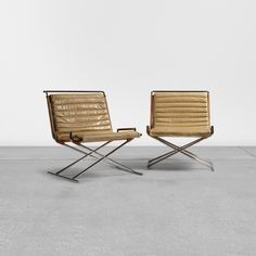 Lot 311: Ward Bennett. Sled chairs, pair. 1966, wicker, chrome-plated steel, leatherette, bamboo. 29¼ w x 33½ d x 25¾ h in. estimate: $4,000–6,000.