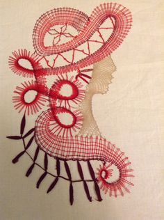 Tête Femme 1-2 Burlap Crafts, Lace Patterns, Bobbin Lace, Tatting, Bobbin Lacemaking, Hand Fans, Human Figures, Art, Dishcloth