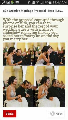Make a cute slideshow of the proposal as a surprise at the wedding!♡