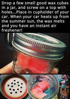 Use chunks of scented candle wax to cover up those Happy Meal smells. Yes, we know. In an ideal world, no one would indulge in fast food. But this is a road trip! One of the best parts is pigging out along the way. That doesn't mean you have to smell like grease for 2 months. This idea is perfect for masking smells without overdoing it.