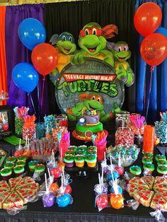 Ninja Turtle Birthday Cake, Turtle Birthday Parties, 5th Birthday Party Ideas, Carnival Birthday, 4th Birthday, Birthday Cakes, Ninja Party, Ninja Turtle Party, Ninja Turtles