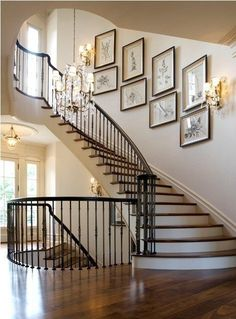 Modern Staircase Design Ideas - Stairs are so common that you don't provide a reservation. Take a look at best 10 examples of modern staircase that are as stunning as they are . Gallery Wall Staircase, Curved Staircase, Modern Staircase, Staircase Design, Basement Staircase, Staircase Ideas, Staircase Pictures, Grand Staircase, Staircase Walls