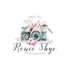 Premade Logo Camera Logo Boho Photography Logo and Watermark Design Business Branding Photography Watermark Calligraphy Logo Feathers Camera Photography Logo Design, Free Photography, Photography Business, Camera Logo, Camera Art, Business Branding, Business Design, Camera Drawing, Cute Camera