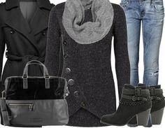 Hübsches Allround Outfit kombiniert aus Jeans, Mantel und einem ausgefallenen Cardigan aus Strick <3 stylefruits <3