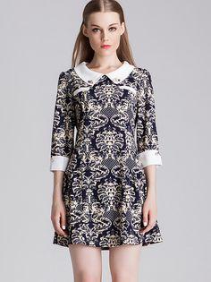 Vintage Pattern Lapel Dress