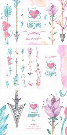 This set of 12 high quality hand painted watercolor clipart (arrows, feathers, floral, ribbons). Perfect graphic for wedding invitations, greeting cards, quotes and more.