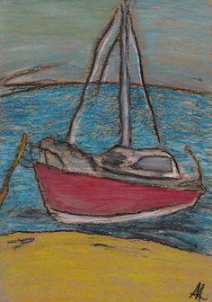 Яхта (Yacht) (210*297, крафтовая бумага, масляная пастель)