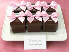 The Favors Boutique Chocolate Wedding Favors, Chocolate Party, Wedding Favors Cheap, Wedding Favor Boxes, Bridal Shower Favors, Wedding Ideas, Chocolate Brown, Wedding Fun, Pink Sweets