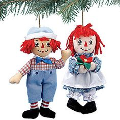 Raggedy Ann And Andy Ornament Set