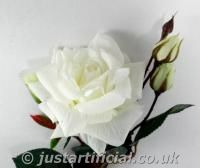 Artificial Silk Real Touch Open Rose with Buds - Image Caption: Artificial Silk Real Touch Open Rose with Buds - 68cm, White/Cream