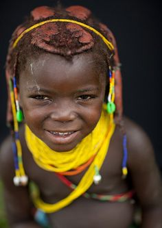 Mwila Young Girl With Beaded Ornaments, Chibia Area, Angola by Eric Lafforgue