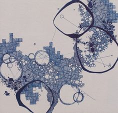 """Asvirus 37"" by Derek Lerner, original pen and ink #drawing #map #topography"