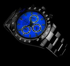 Customized Black and Blue Rolex Daytona