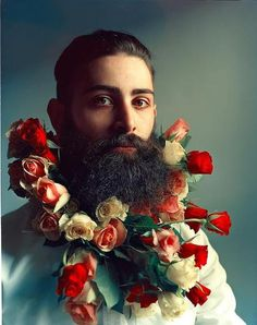 Awesome 48 Most Elaborate Flower Beard Decorations Ideas Beard Decorations, Glitter Beards, Flower Beard, Beard Styles, Hair Styles, Flower Boys, Photomontage, Looks Cool, Hipsters